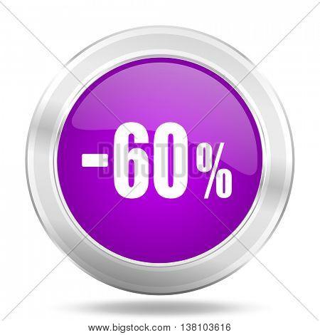 60 percent sale retail round glossy pink silver metallic icon, modern design web element