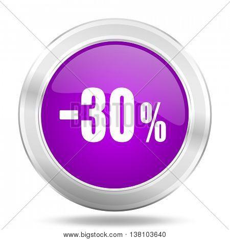 30 percent sale retail round glossy pink silver metallic icon, modern design web element