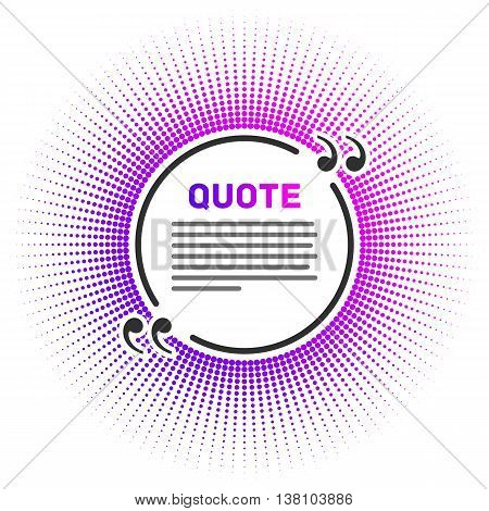 Quote blank with text bubble. Quote box balloon. Modern design quote template. Bright pattern quotes in a flat style. Icon quotes.