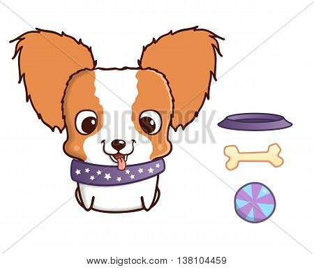 Cute cartoon papillon puppy. Vector illustration isolated on white. Papillon puppy with bowl, bone and ball. Sweet little dog with big head