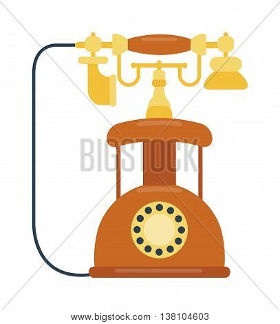 Old vintage keypad mobile phone and icon of old classic mobile phone antique vector. Old style mobile phone technology retro cellphone vector illustration isolated