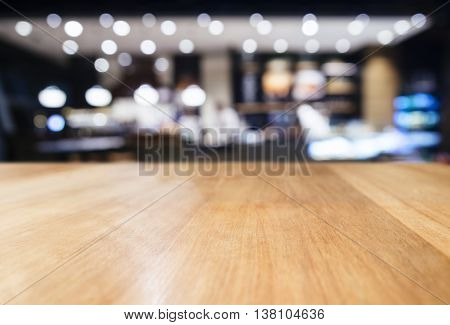 Table top counter with Blurred Bar Restaurant Lighting decoration background