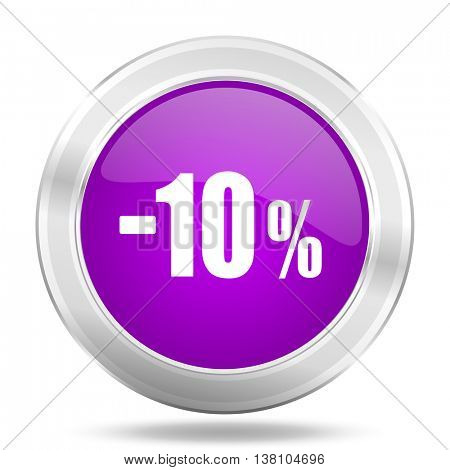10 percent sale retail round glossy pink silver metallic icon, modern design web element