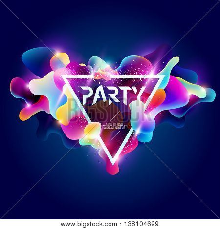 Poster for party.  Plastic colorful shapes.