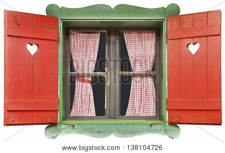 Colorful Wooden Chalet Window Isolated with Clipping Path