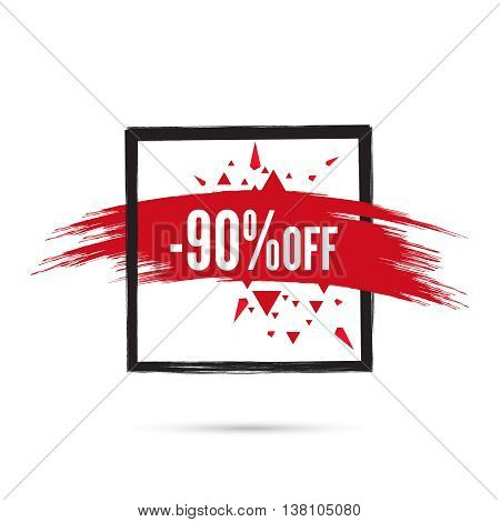 Abstract background with square banner and smear paint. Vector tag. special offer, discount, price, sale. 90 percentage