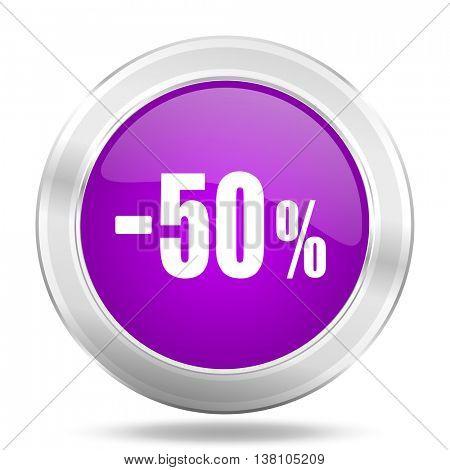 50 percent sale retail round glossy pink silver metallic icon, modern design web element
