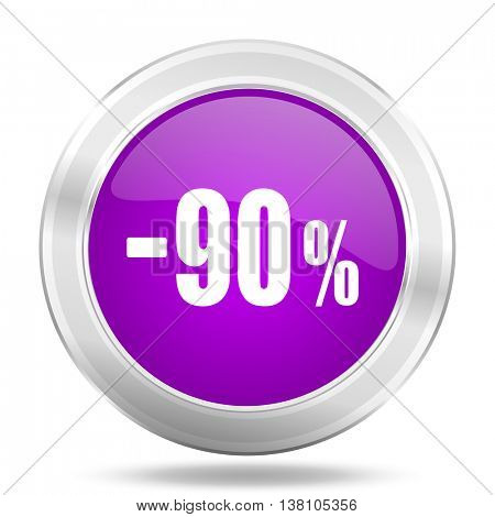 90 percent sale retail round glossy pink silver metallic icon, modern design web element
