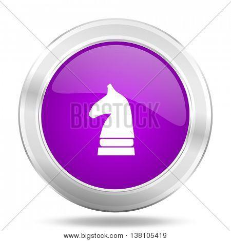 chess horse round glossy pink silver metallic icon, modern design web element