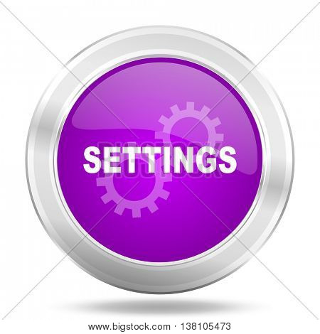 settings round glossy pink silver metallic icon, modern design web element