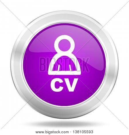 cv round glossy pink silver metallic icon, modern design web element