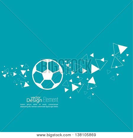 Vector icon of a soccer ball. football. Abstract background with vector image of flying soccer ball. layout for booklet, flyer, cover, preview, announcement, report. trail triangle