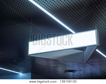 Signboard hanging Blank signage with Light in Building