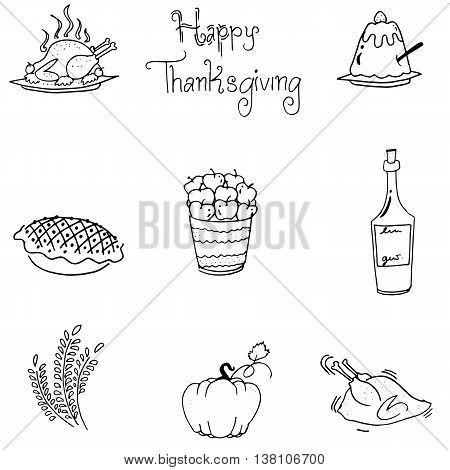Doodle of thanksgiving food flat design vector art