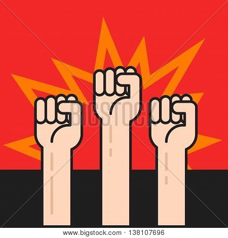 Fists hands up vector illustration, protest sign, crowd of people protesters, politic crisis, revolution concept, war activists, flat cartoon outline line design on black red background