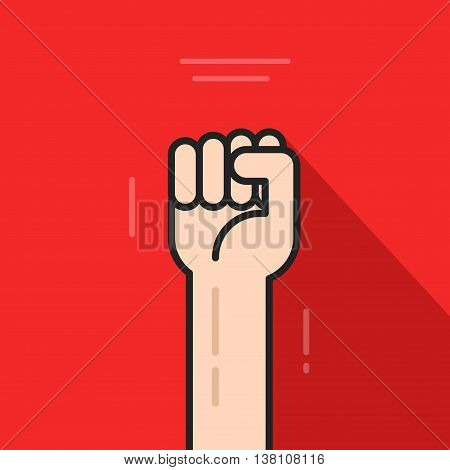 Fist hand up vector icon isolated on red background, revolution logo idea, freedom symbol, soviet concept, flat cartoon line art outline illustration