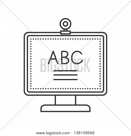 Thin line monitor with web camera and ABC on screen. Education icon