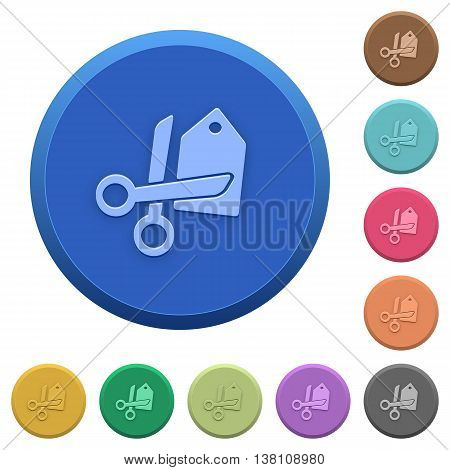 Set of round color embossed price cut buttons