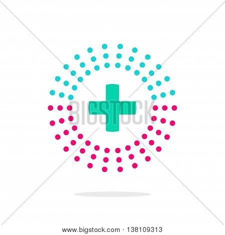 Medical logo vector symbol with green cross and abstract purple and blue rays, flash, concept of pharmacy clinic label, hospital center logotype modern design isolated on white background