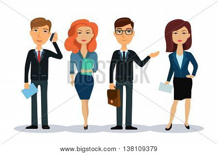 Business people characters. Business team. Group of office workers. Men and women in office wear. Broker, manager or dealer. Flat vector illustration.