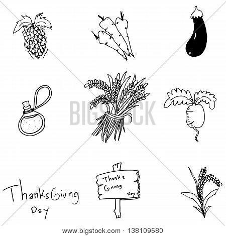 Doodle Thanksgiving vegetable set vector art illustration