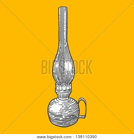 Kerosene lamp engraving style vector illustration. Scratch board style imitation