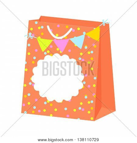 Paper festive gift bag vector with blank tag label. Bunting flags and confetti package.
