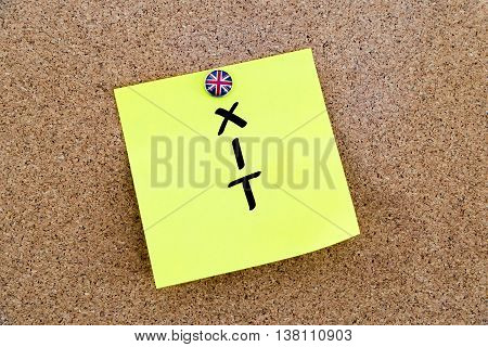 Yellow Paper Note Pinned With Great Britain Flag Thumbtack And Text Brexit