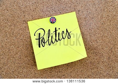 Yellow Paper Note Pinned With Great Britain Flag Thumbtack And Text Politics