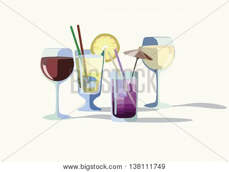 Cocktail drinks Vector. Summer Refreshments drinks set collection