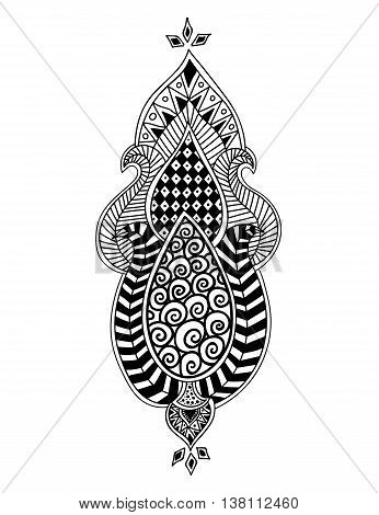 Zen-doodle or Zen-tangle floral pattern. Composition in Indian style. Vector illustration.