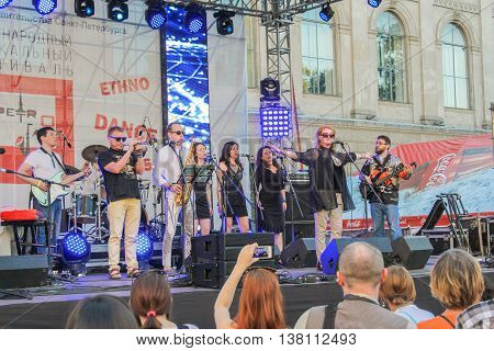 St. Petersburg, Russia - 2 July, Musicians on the open stage, 2 July, 2016. Annual international festival of jazz and blues in St. Petersburg.