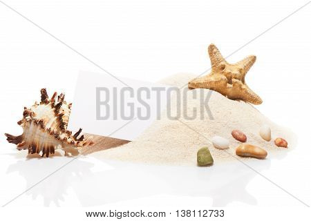 Visit Card, Starfish, Seashell And Stones On Pile Of Sand