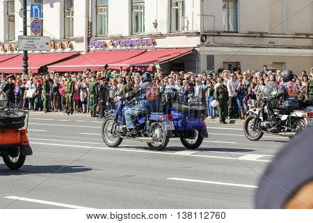 St. Petersburg, Russia - 9 May, Motorcycles with sidecars, 9 May, 2016. Memory Action