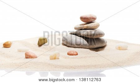 Japanese Zen Stone Garden And Sea Stones On Beach Sand