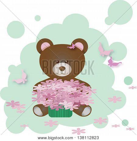 Vector Cute Teddy Bear holding flowers illustration