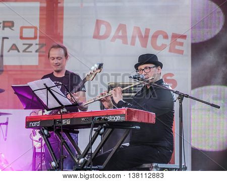 St. Petersburg, Russia - 2 July, Musicians with instruments, 2 July, 2016. Annual international festival of jazz and blues in St. Petersburg.
