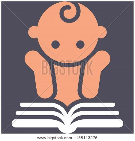 Kids activities icon - child reading a book