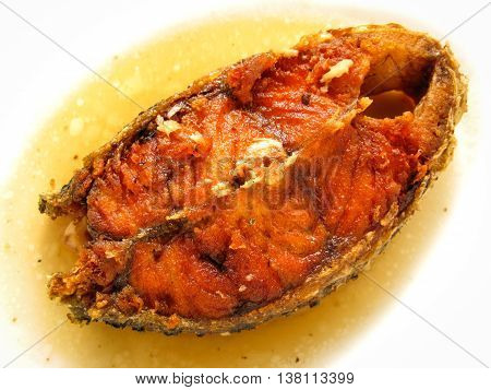 fried snapper with fish sauce prepare for serve in the restaurant