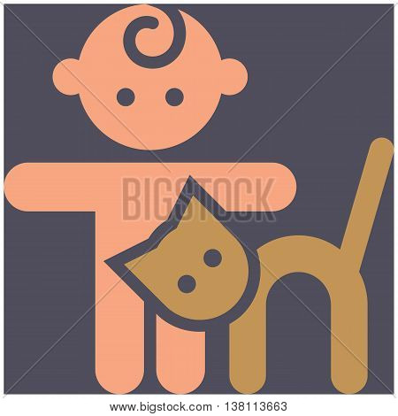 Kids activities icon - child in the petting zoo