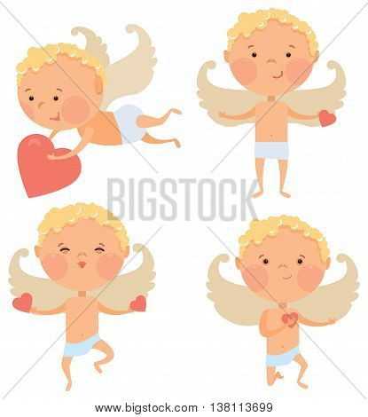 Cupid angel - little boy with a bow and arrows