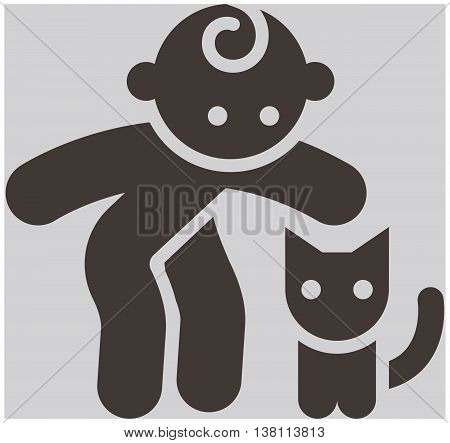 Kids activities icon - a child and a cat in the petting zoo