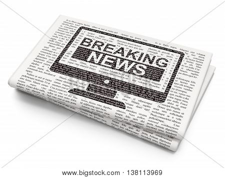 News concept: Pixelated black Breaking News On Screen icon on Newspaper background, 3D rendering