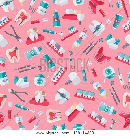 Seamless Dentist Equipment Pattern on Pink Background. Vector Illustration. Dental and Orthodontics Tools, Teeth.