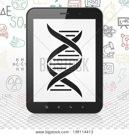 Science concept: Tablet Computer with  black DNA icon on display,  Hand Drawn Science Icons background, 3D rendering