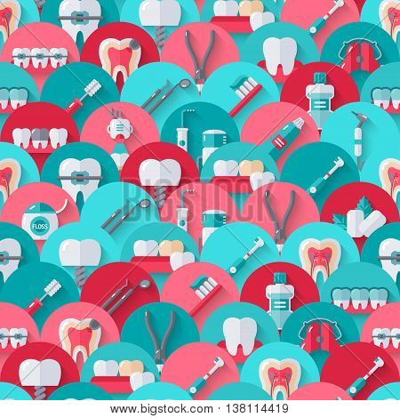 Seamless dental pattern with flat equipment icons on circles. Vector illustration. Colorful dentistry background.
