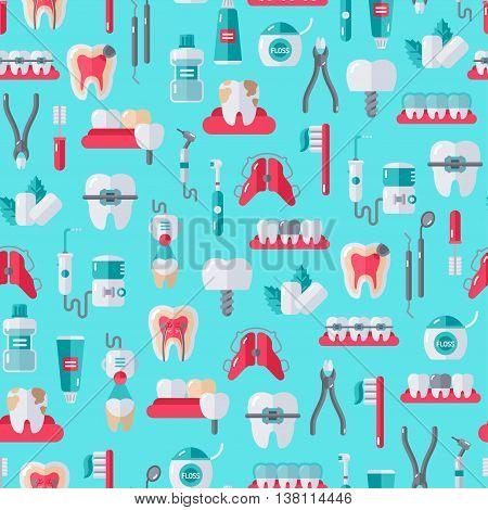 Seamless Dentist Equipment Pattern on Blue Background. Vector Illustration. Dental and Orthodontics Tools, Teeth.