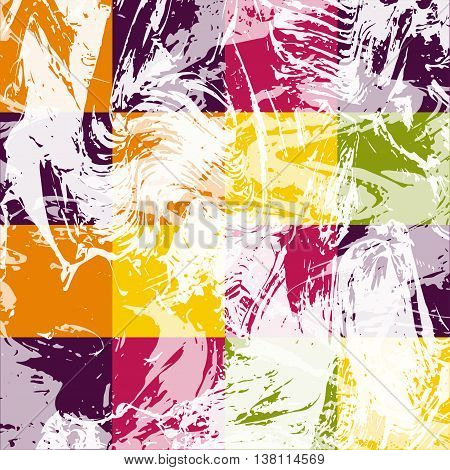Abstract geometric pattern with white paint strokes and drips. Vector Illustration. Vibrant colored square elements.