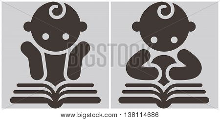 Kids reading book - activities icons set