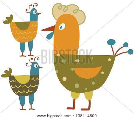 Funny hen - color illustration icons set